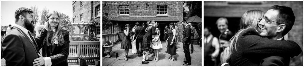 Guests congratulate the bride and groom
