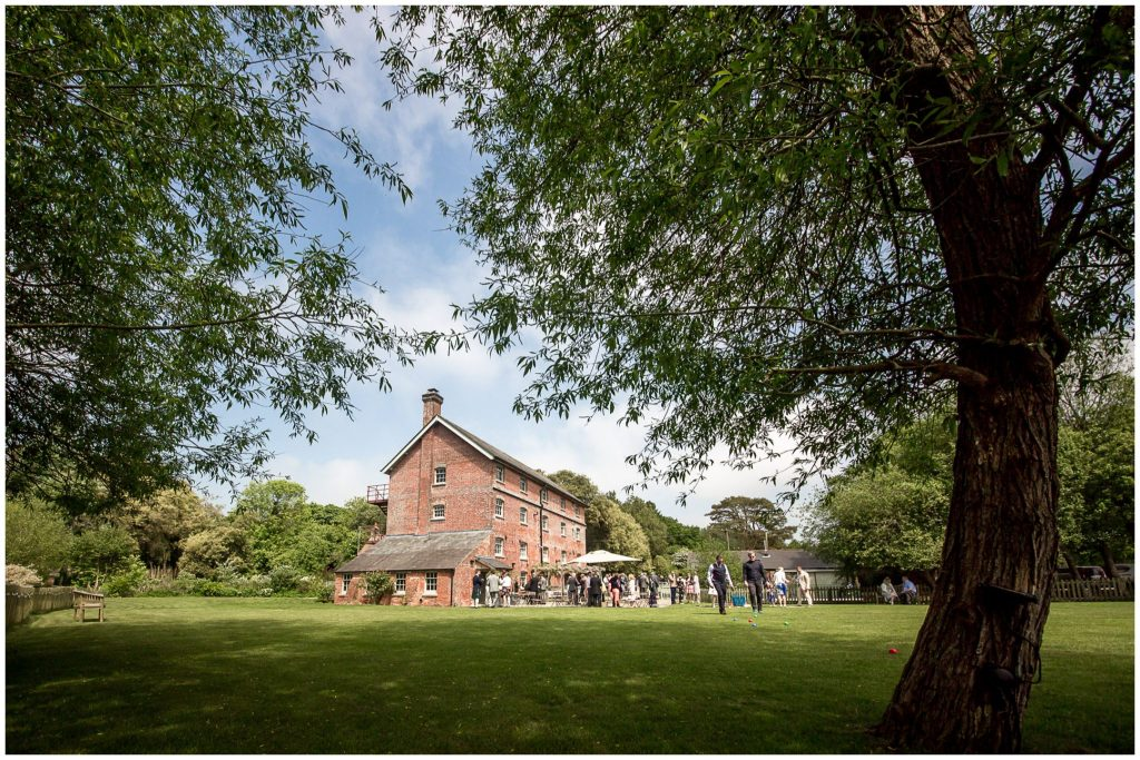 Sopley Mill wedding venue exterior and grounds on a sunny day