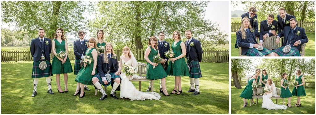Group photos with groomsmen and bridesmaids in the gardens