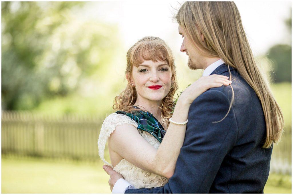 Bride and groom colour portrait