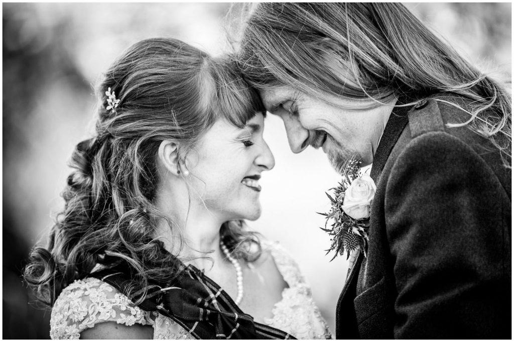Black and white portrait couple smiling