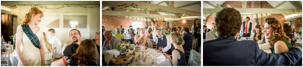 Candid photography of bride and guests during wedding breakfast