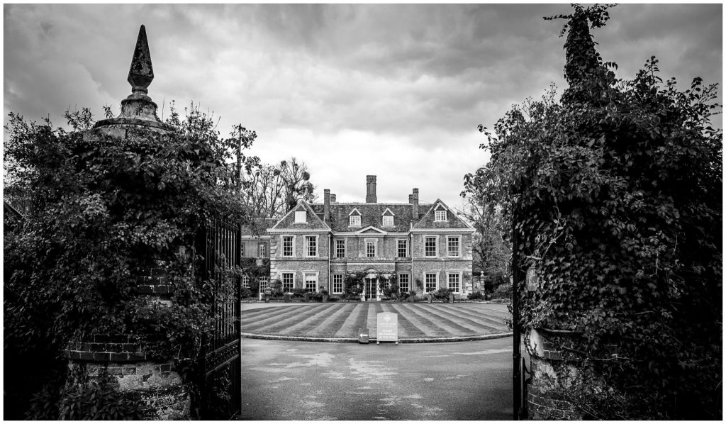 lainston house hotel wedding venue exterior back and white