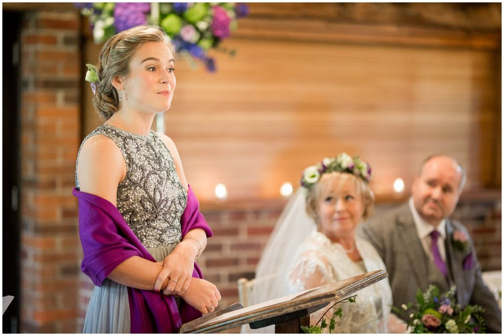 Bridesmaid gives a reading