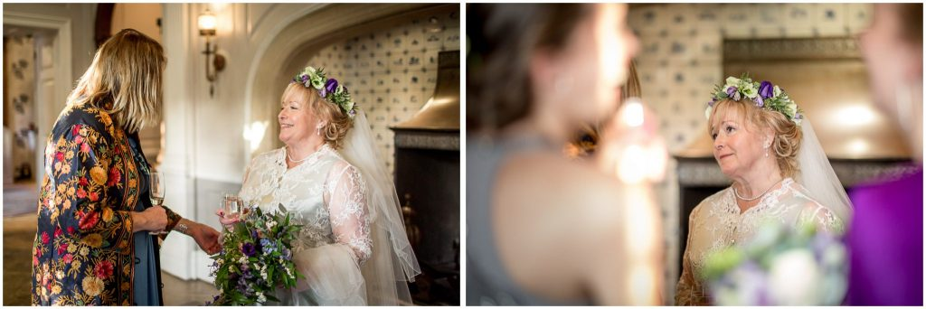 Candid photographs of bride with guests