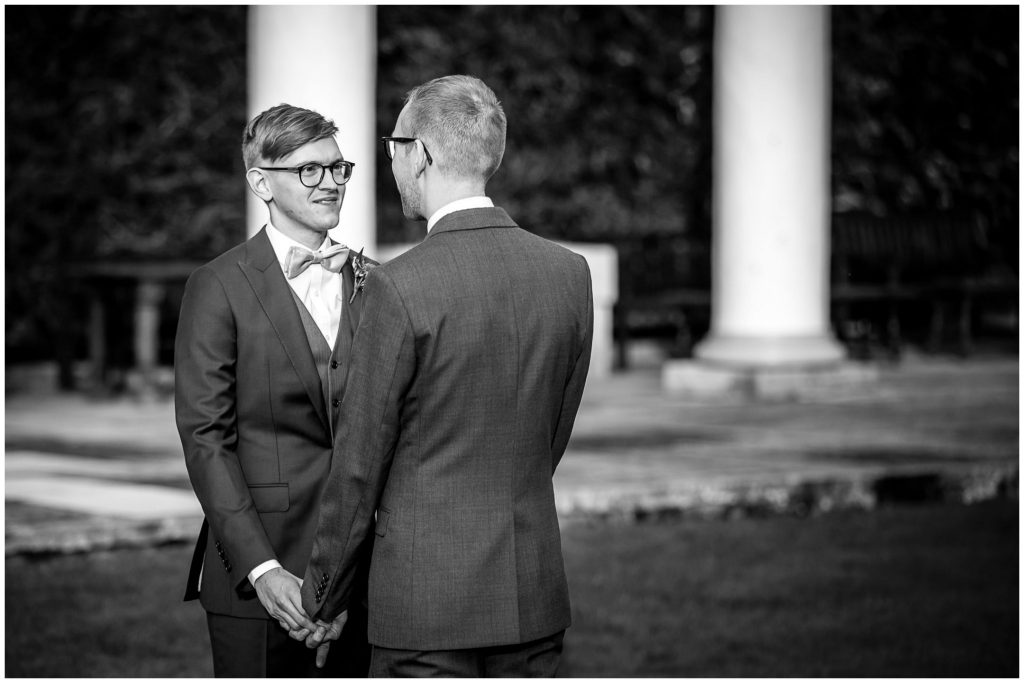 Winchester gay wedding groom portraits in black and white