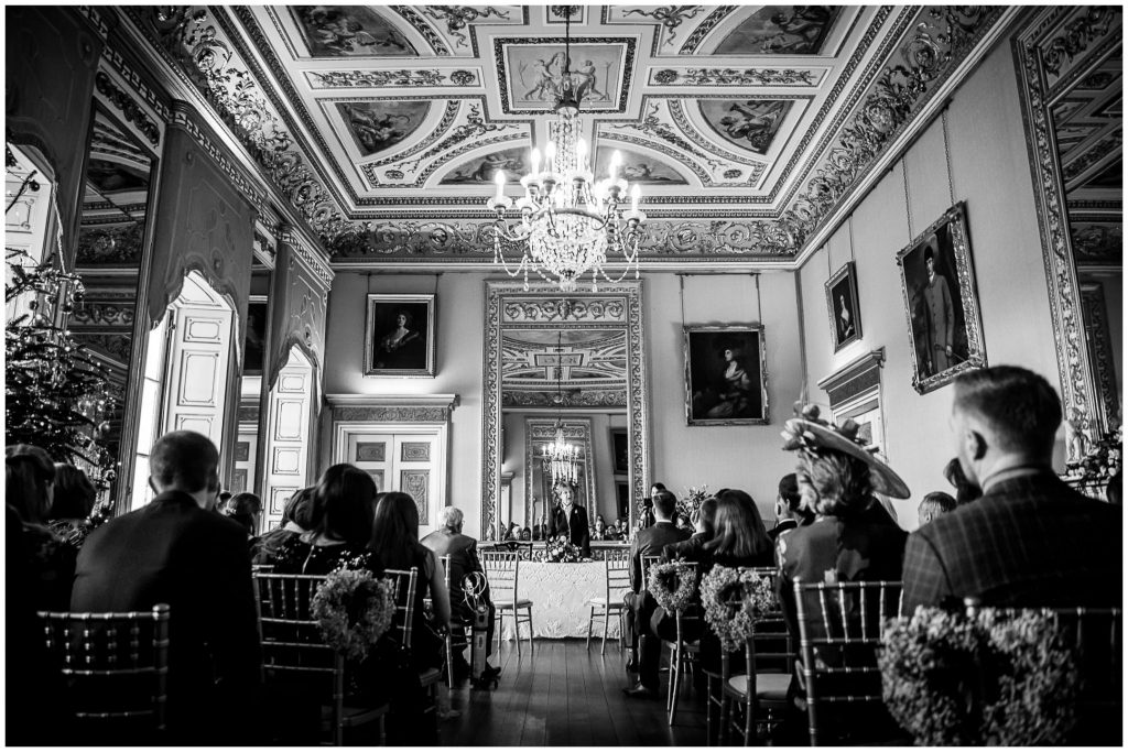 Black and white ceremony room