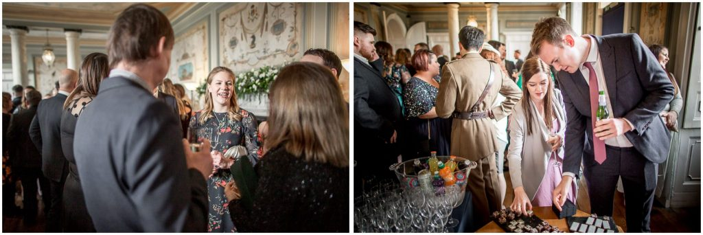 Candid photos of guests during drinks reception in hall