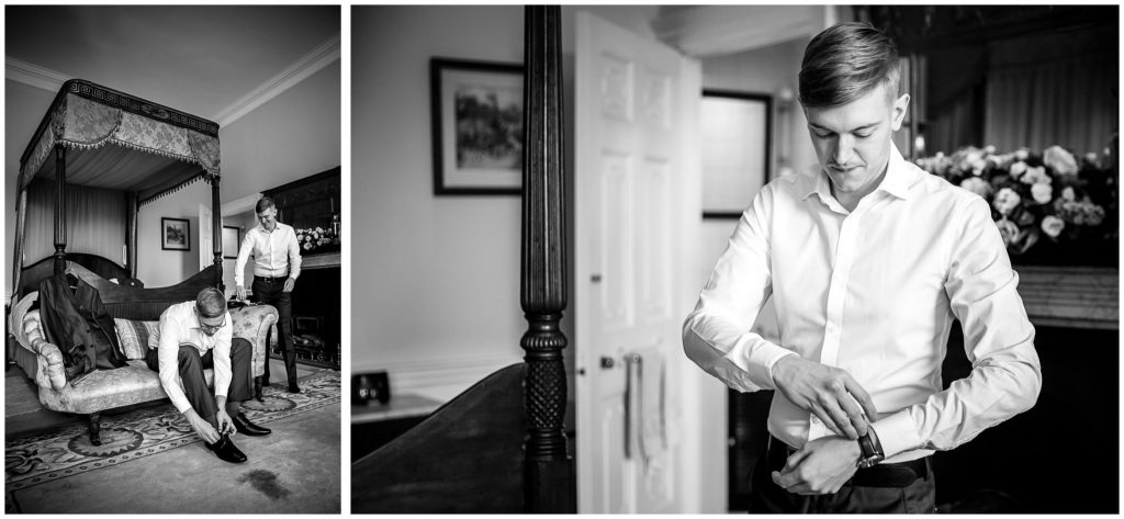 Black and white images of groom getting ready