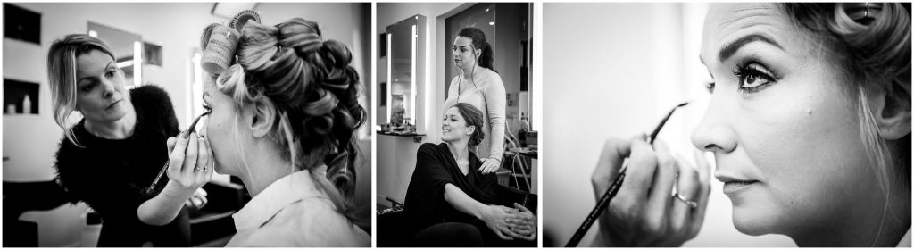 Black and white photos of bride make up