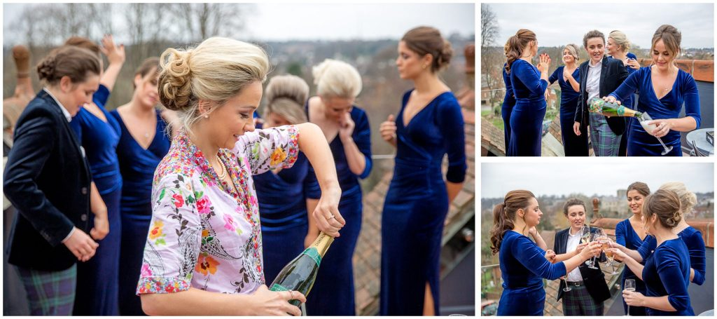 Champagne with bridesmaids on the roof terrace at the Black Hole Winchester