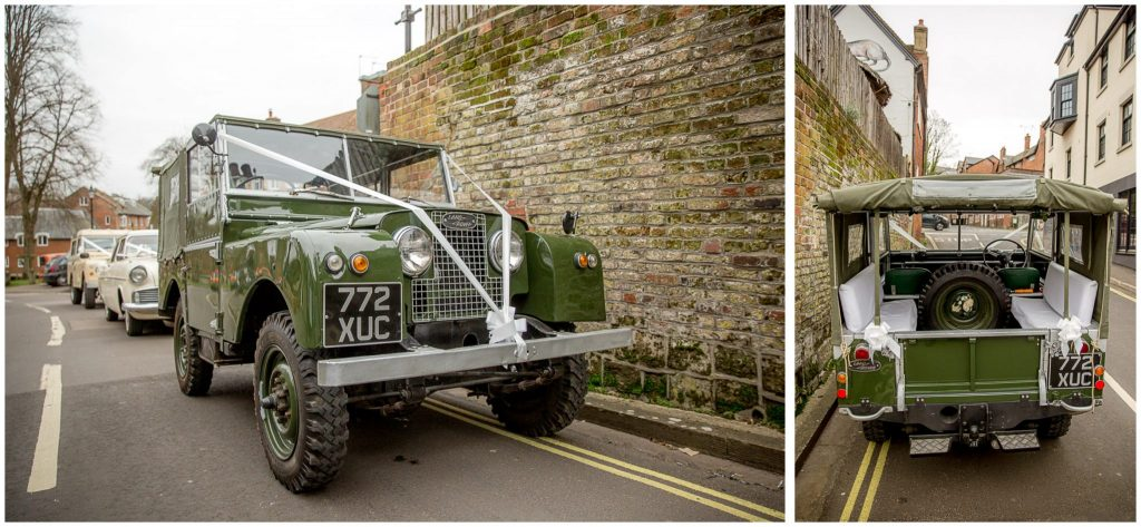 The wedding cars - vintage Landrover