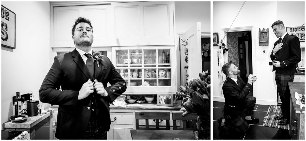 Groom and best men black and white portraits