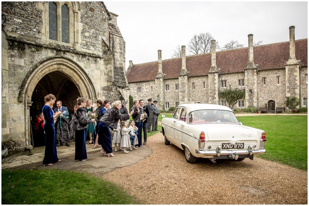 Wedding car pulls up at the church door