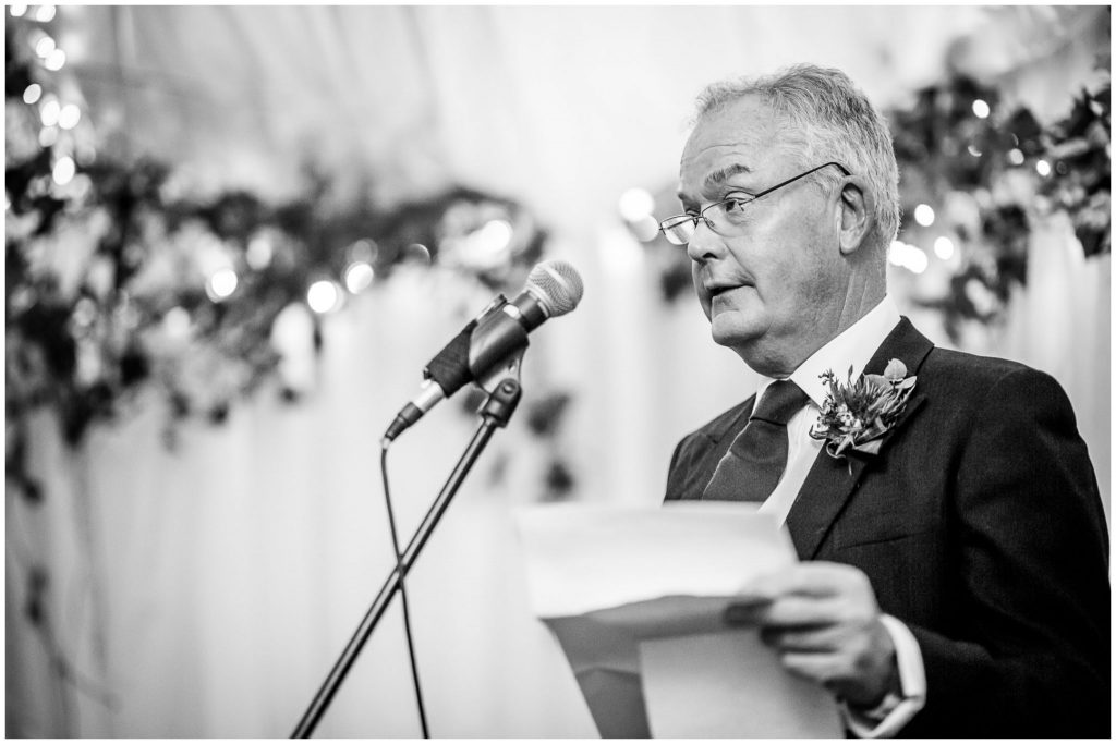 Father of the bride gives the opening wedding speech