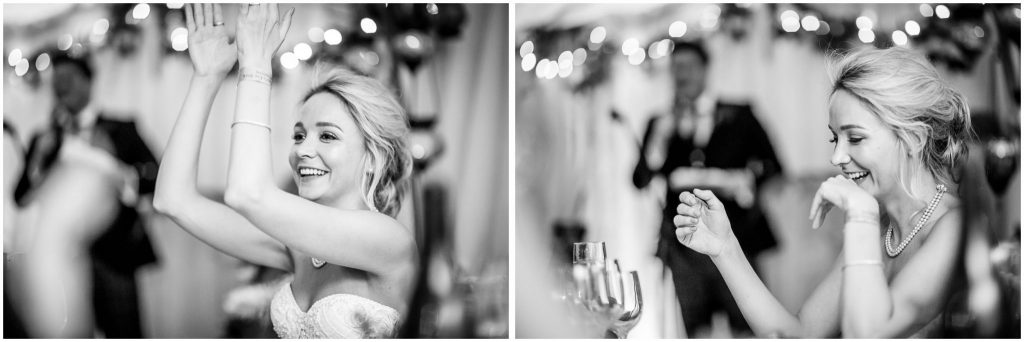 Black and white candid photos of bride during speeches