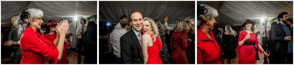 Guests wearing red on the dancefloor