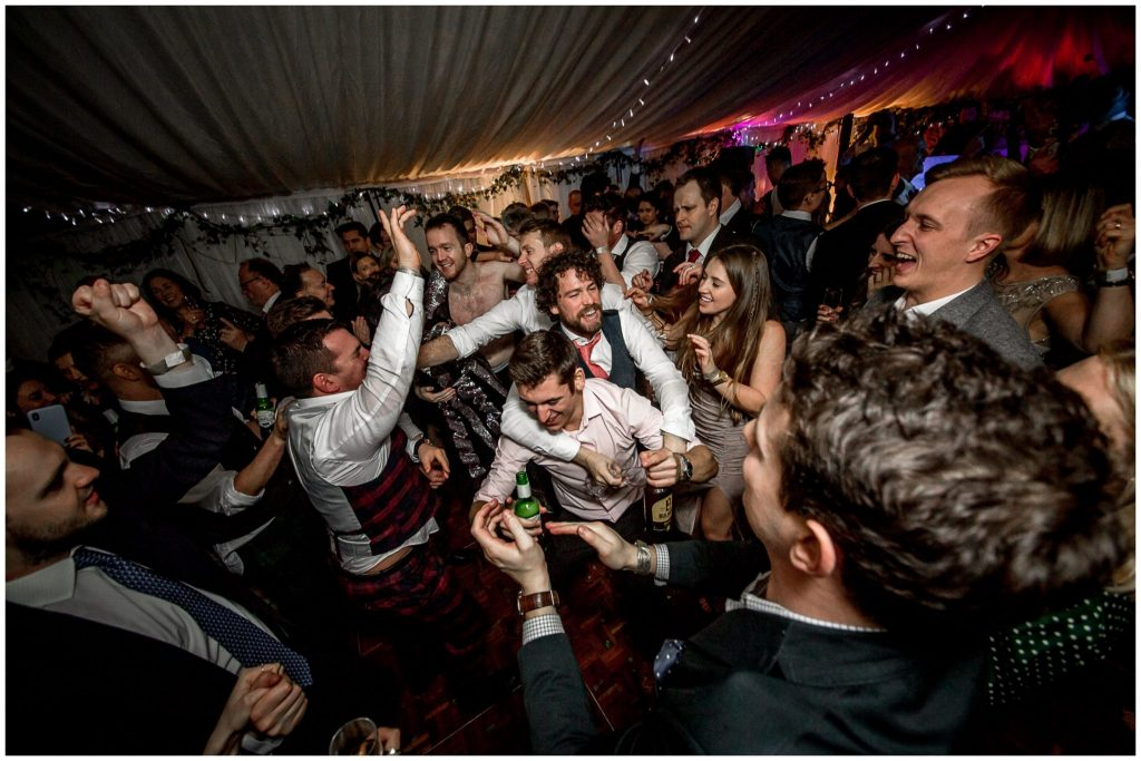 Busy dancefloor for New Year's Eve wedding reception