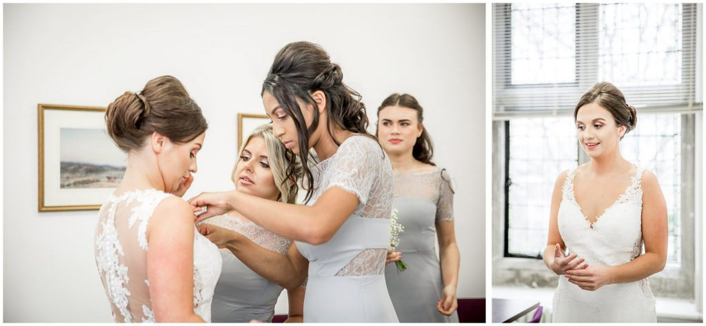 Bridesmaids add finishing touches before bride walks to the ceremony room