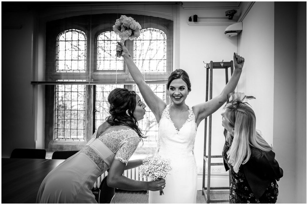 Bride and bridesmaid funny moment captured
