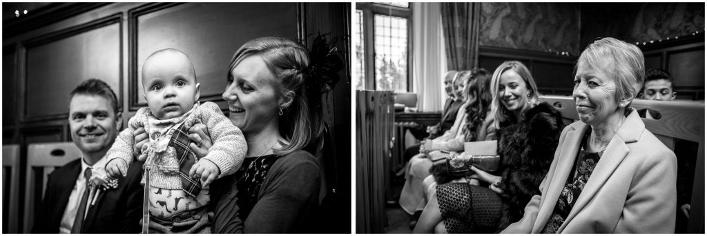 Guests in the Basing Room black and white portraits