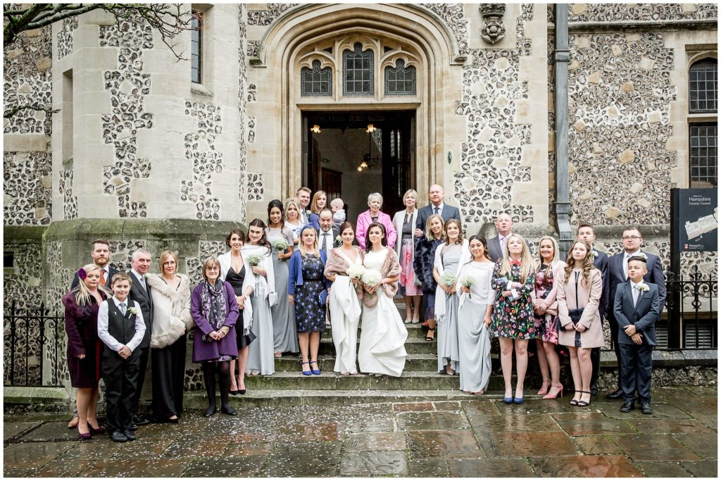 Group photo on the steps outside the registry office