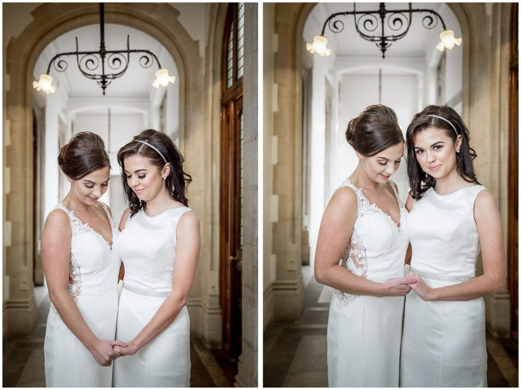 Portrait of the two brides inside the Registry Office building