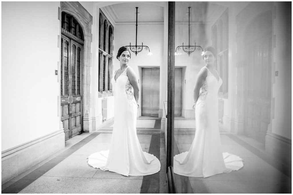 Black and white bridal portrait with reflection