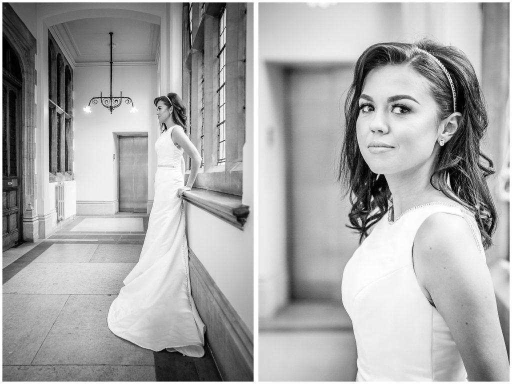 Bride portraits in black and white