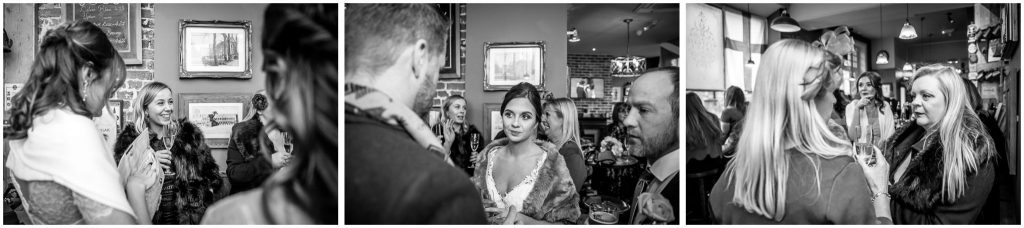 Candid photographs of wedding guests at Westgate Hotel Winchester