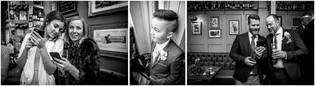 Candid wedding guest photos in black and white