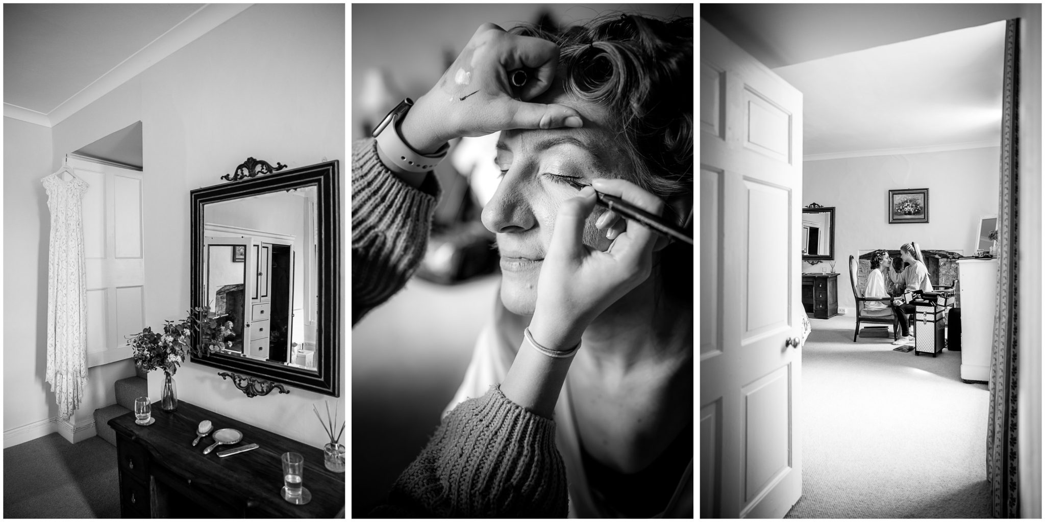 Black and white photos of bridal preparation in master bedroom suite
