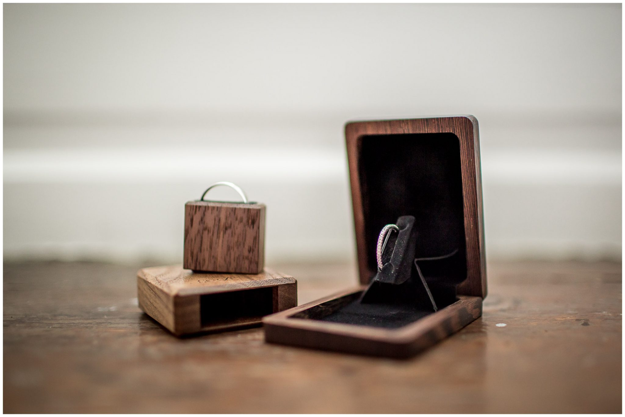 Wedding rings in presentation boxes