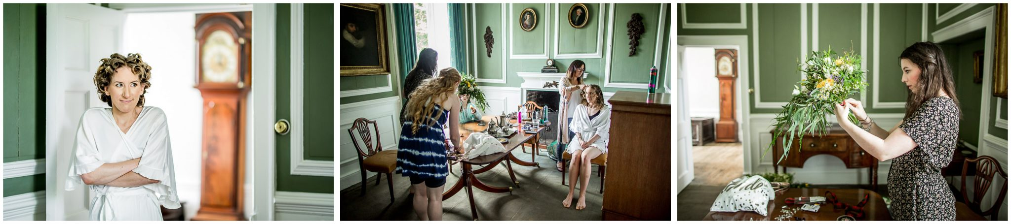 Bridal prep in the main house at exclusive use wedding venue in Cornwall