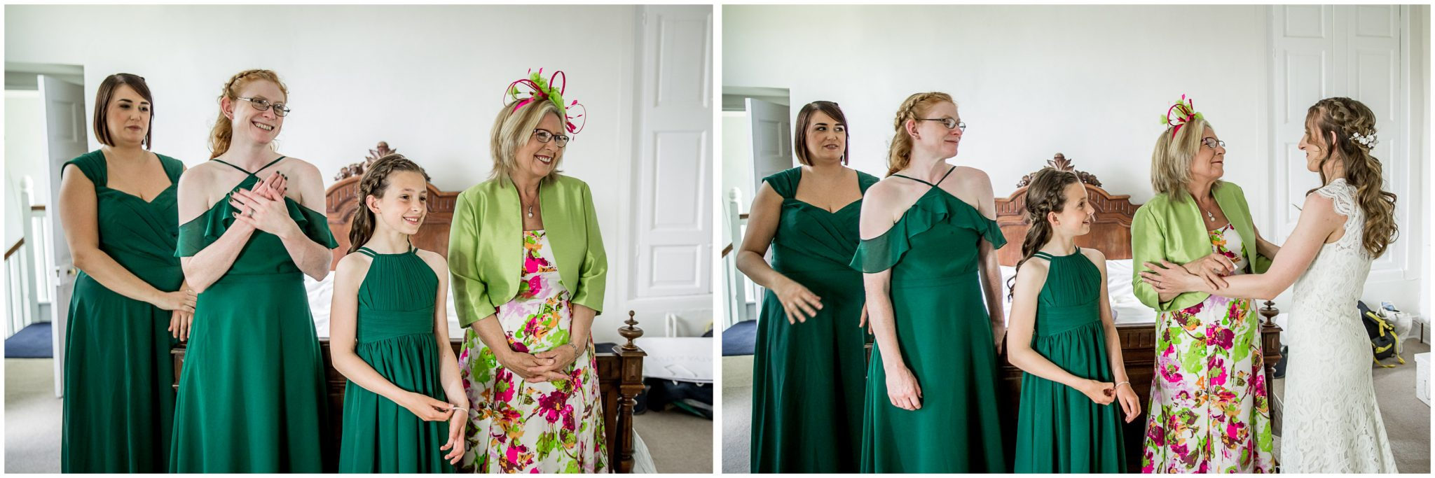 Bridesmaids and mother react to seeing the bride in dress for the first time