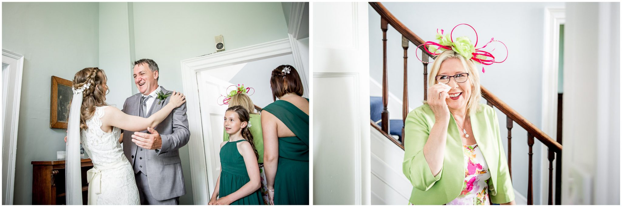 Colour photos of bride and family before ceremony