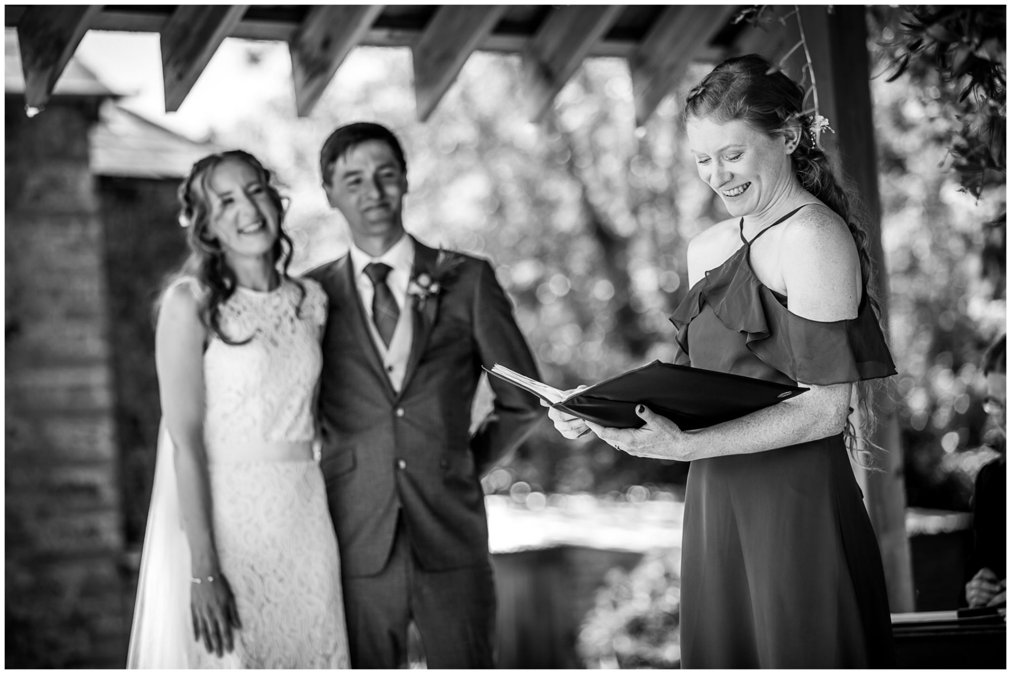 A bridesmaid gives a reading at the conclusion of the marriage