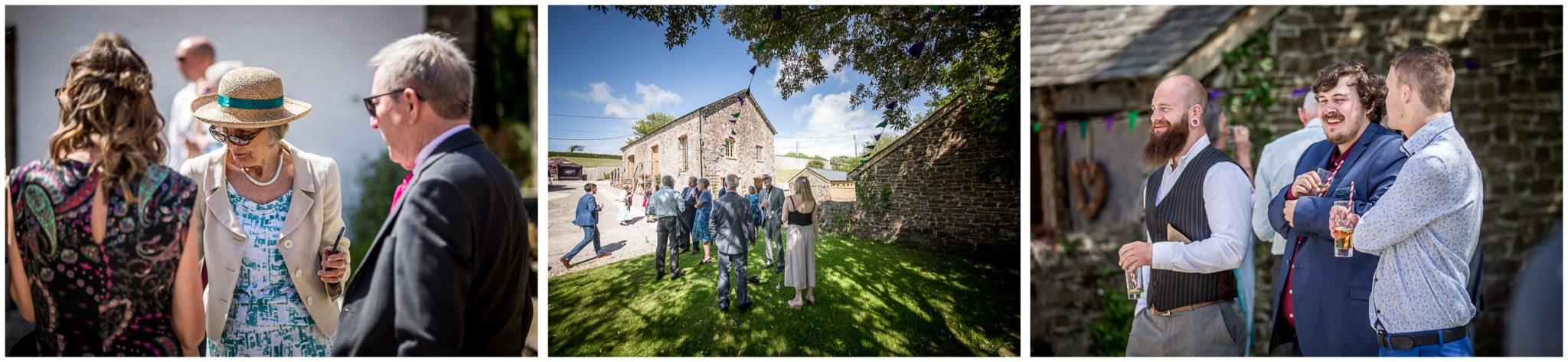 Candid photos of guests in grounds of wedding venue in Summer sunshine