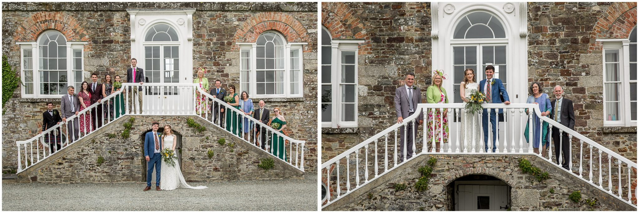 Formal group photos on steps outside main house at Bude wedding venue