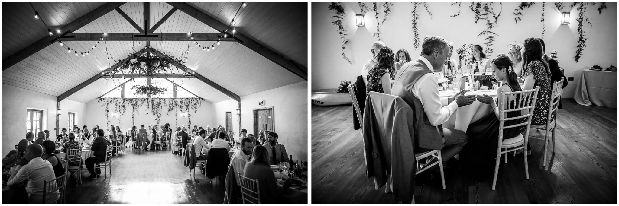 Black and white photos of barn interior for wedding breakfast