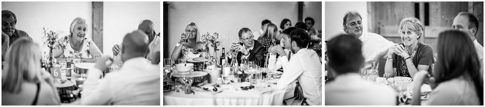 Candid photos of guests during the meal