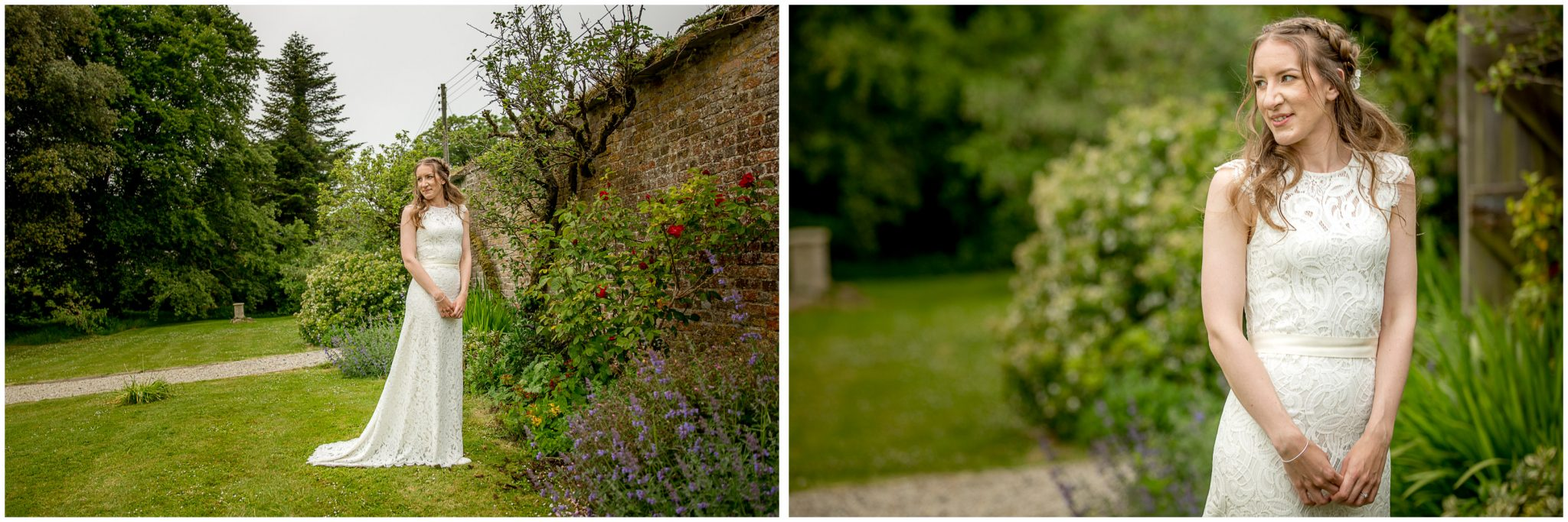 Bride portraits in the gardens of the house exclusive wedding venue near Bude