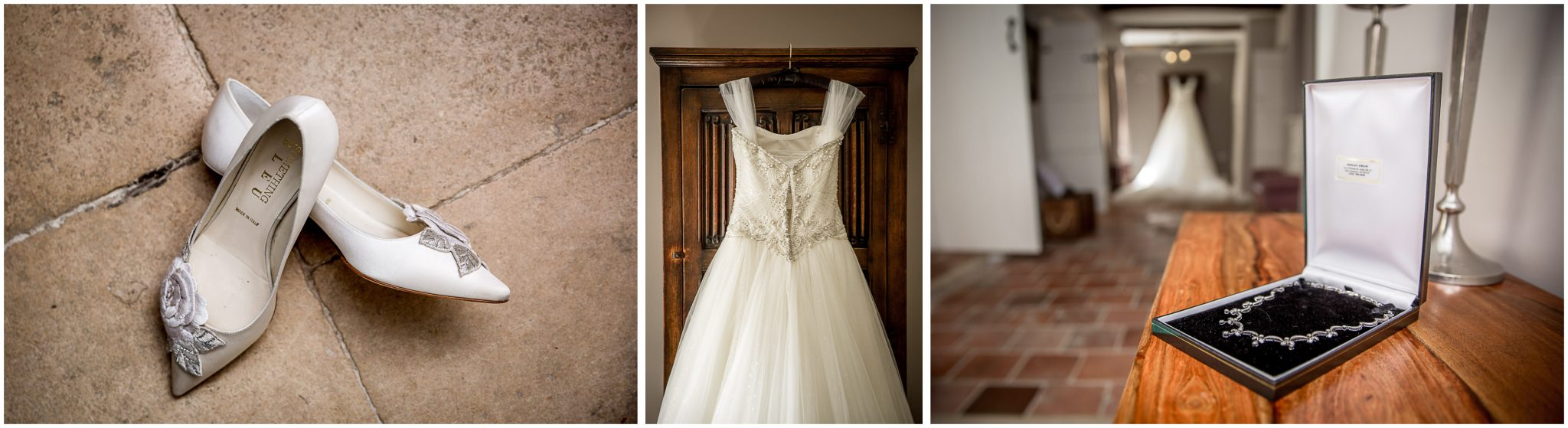 Dress, show and jewellery details for Milton Abbey School wedding