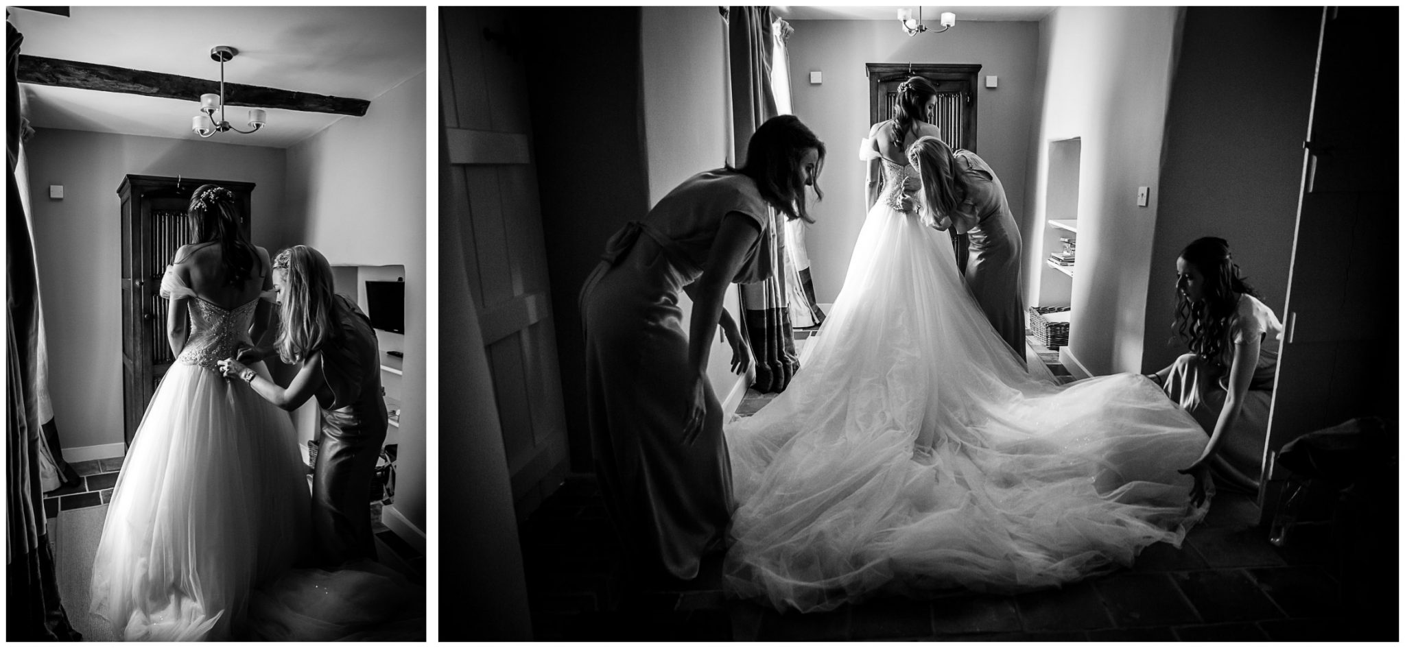 The bride gets into her wedding dress with help from her bridesmaids