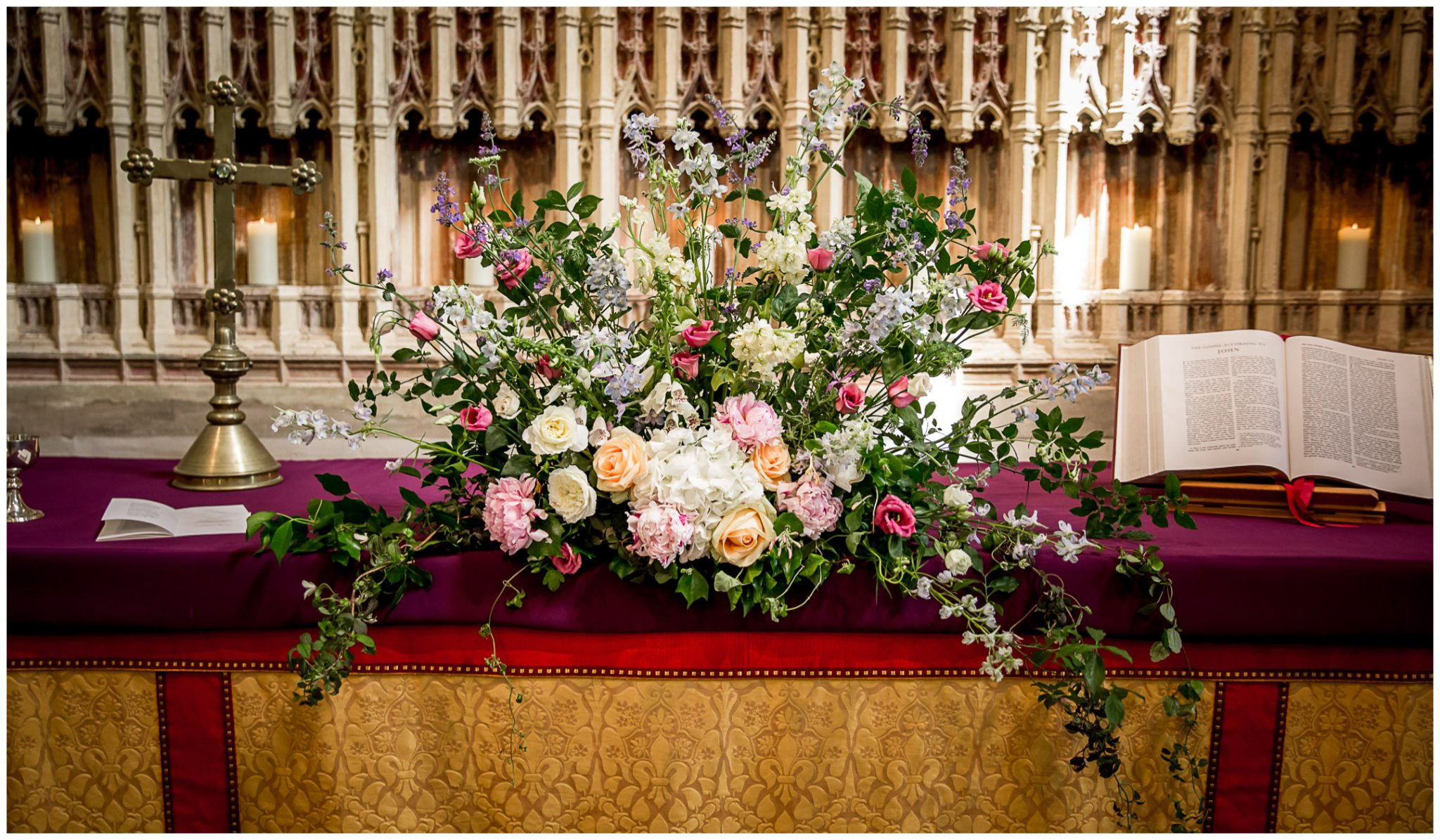 Wedding flowers on the high altar