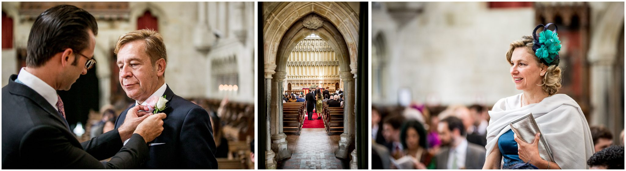 Guests arrive at Milton Abbey for the wedding ceremony