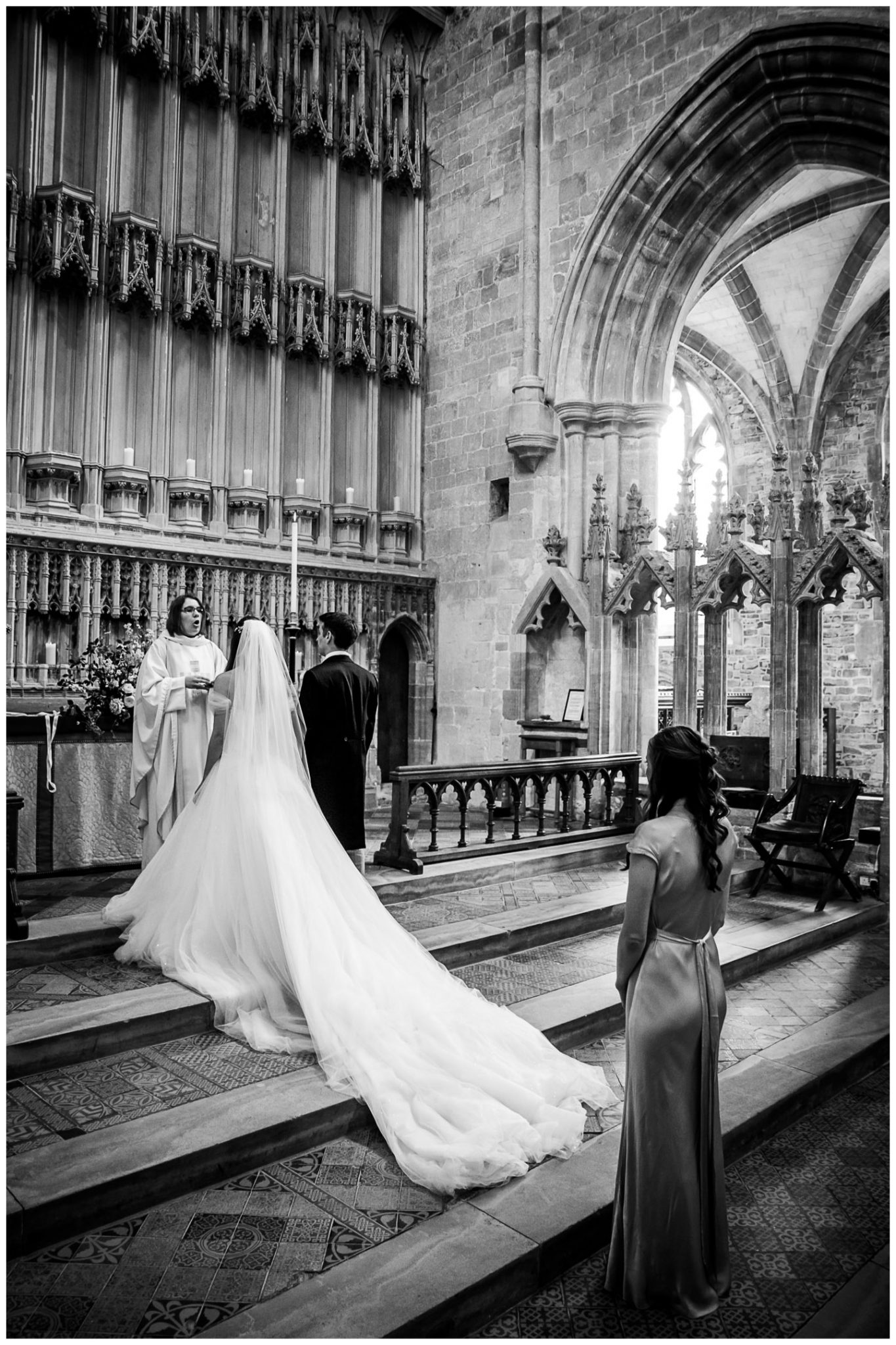 Bride and groom approach the altar for their blessing
