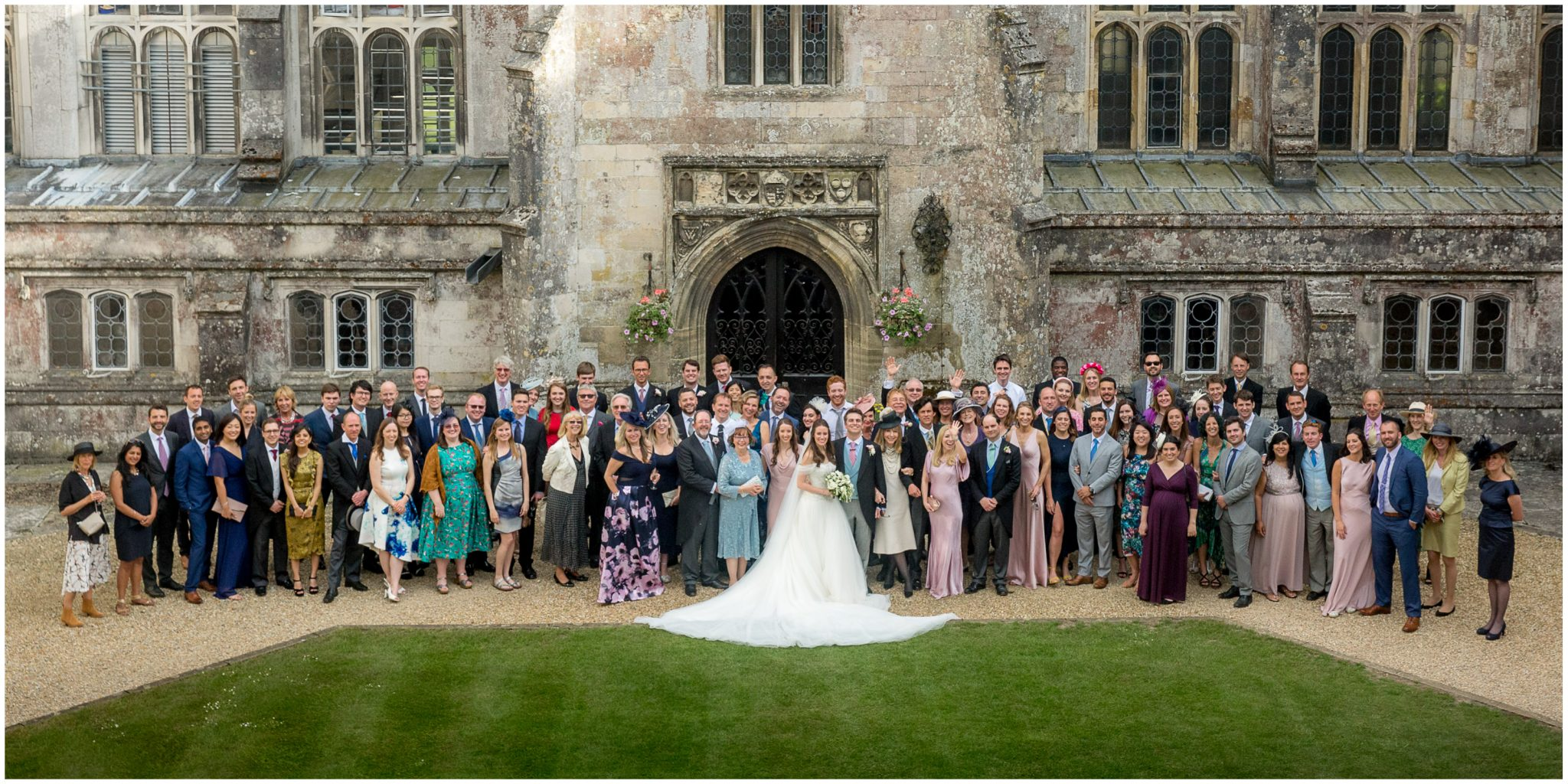 Photo of all the wedding guests in the quad