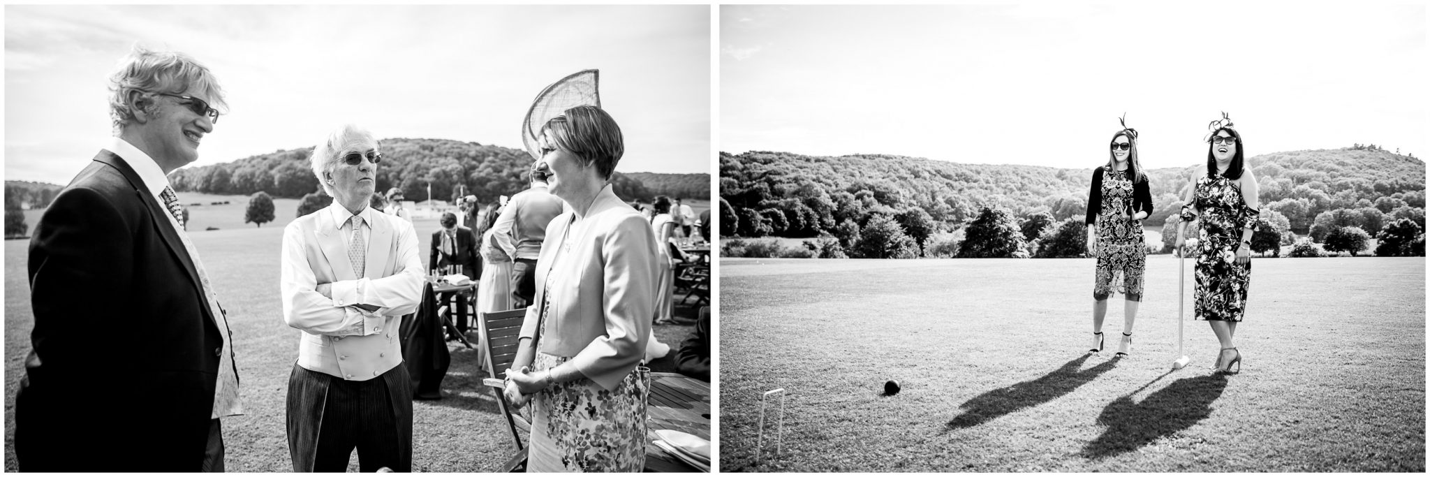 Black and white photos of guests on the lawn at Milton Abbey School wedding venue