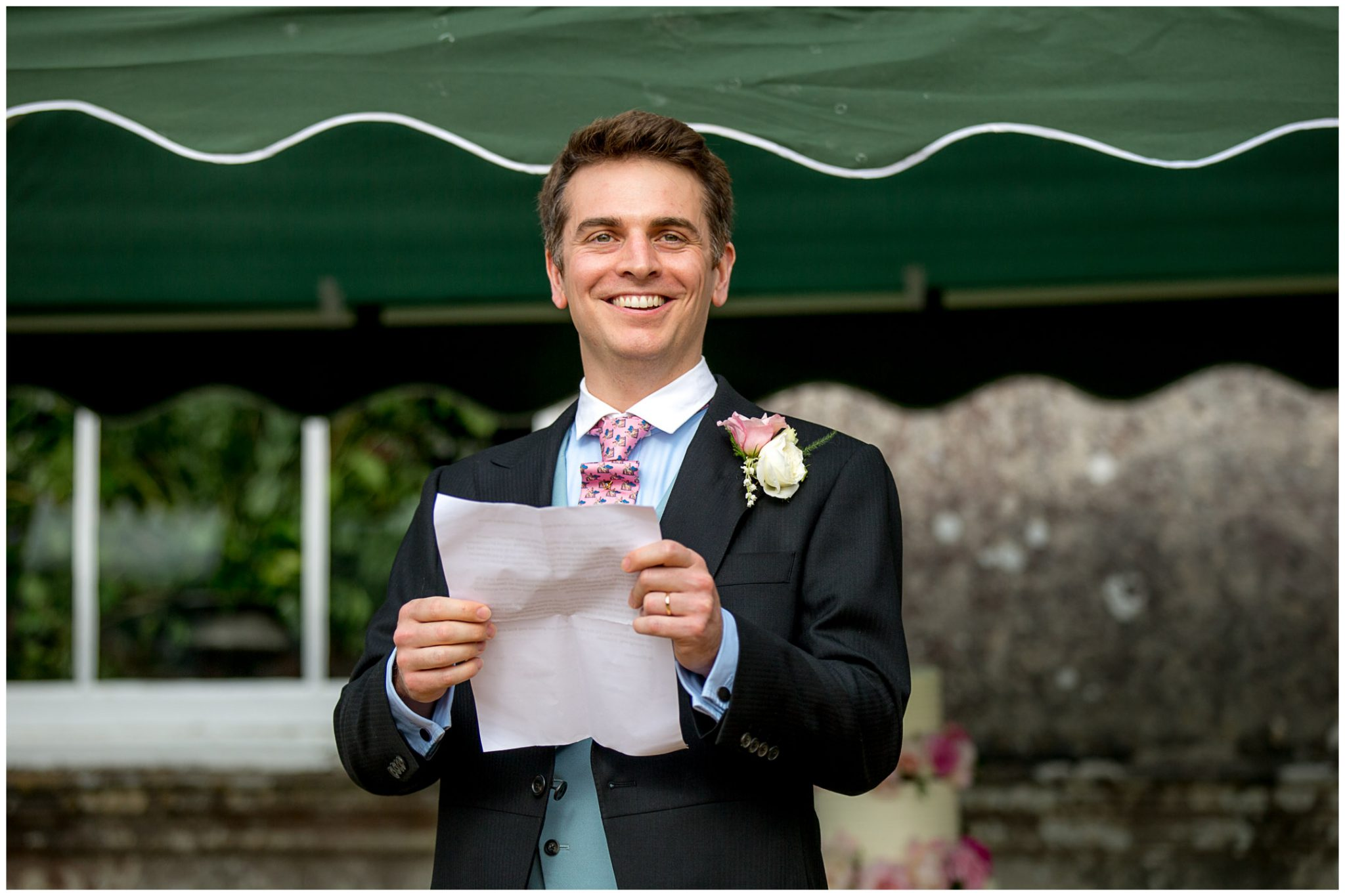 The groom makes his wedding speech